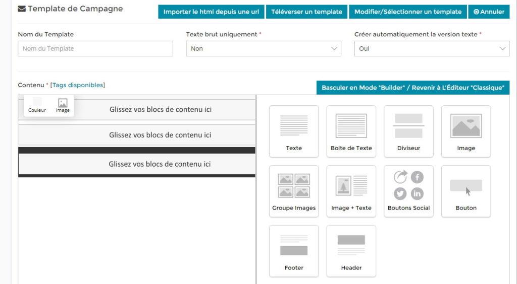 Constructeur De Templates Email En Glisser/Déposer